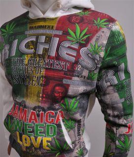 Mens Sweater Hoodie Jamaica Weed Love Bob Marley Reggae Music