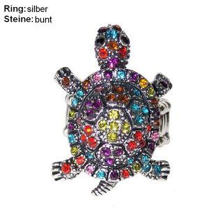 Neu Schildkröte Ring Strass Tier Motiv dehnbar Vintage Look Turtle