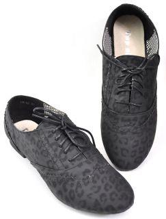 Basic Black LEOPARD Leo BUDAPESTER Halbschuhe Schuhe Rockabilly Emo