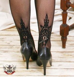 French LACE Pattern Garter Heel HANNA TATTOO Pantyhose