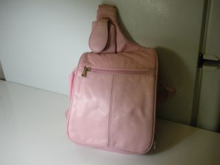 Pink Genuine Leather Purse Handbag Backpack