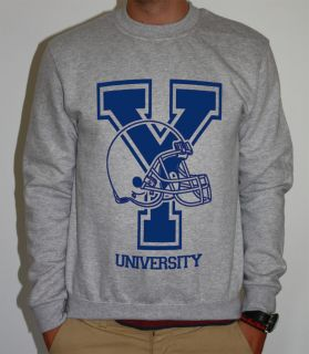 YALE UNIVERSITY AMERICAN FOOTBALL TEAM SWEATER SWEATSHIRT JUMPER SWEAT