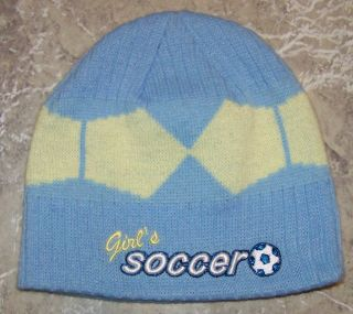 Bio Domes Headgear Girls Baby Blue Yellow Diamond Soccer Beanie Hat