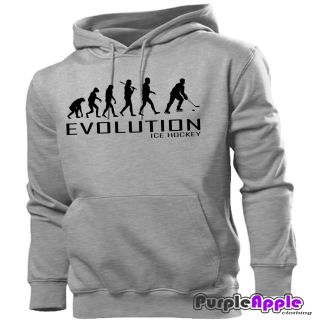 ICE HOCKEY APE TO EVOLUTION HOODIE HOODY MENS WOMENS BOYS GIRLS NEW