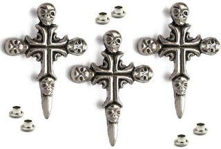 10 Stück  Schädelkreuz SKULL Cross / ZINK / Totenkopf Niete Gothic