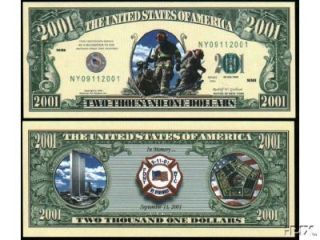 Fire Fighter 2001 Novelty Dollar Bill 911 FDNY WTC