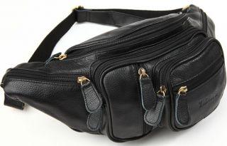 Neu Herren Gürteltasche Mode Echtes Leder Schwarz Reisetasche