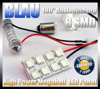 SMD LED Panel Blau +T10 adapter + Soffitte Auto Lampe