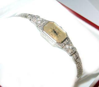 ART DECO Weißgold DIAMANT UHR 0,40 ct Diamanten watch