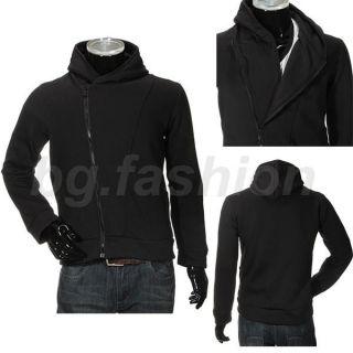 Mens Casual Stylish Oblique Front Zipper Hoodies Tops Jackets Coats