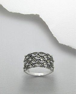 Ring Markasit 925 Silber filigran gothic fantasy