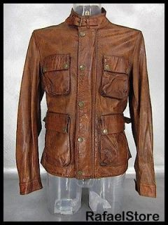 BELSTAFF Mens Jacket Leather L 713136 New Brad Vent Burnt Brown Gold
