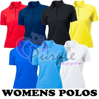 Womens Girls Ladies NEW Polo Shirt All Colours Sizes