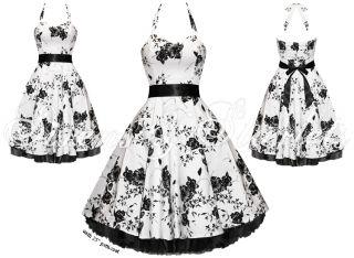 Party Kleid Weiß Blumen Pin Up Rockabilly VTG Ballkleid Damen