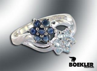 925 Ring mit Blumen aus Topaz(Sky Blue) und Blue Saphir