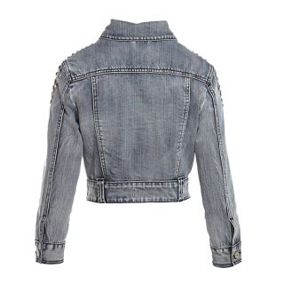 Fitted Studded Shoulder Crop Denim Womens Mid Bleach Wash Blue Jean