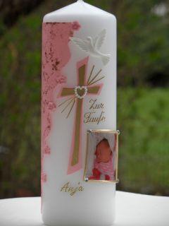 Taufkerze für Junge oder Mädchen mit Foto+Namen+Datun inklusive