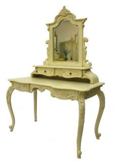 French Furniture Dressing Table and Mirror Ivory White Luxury French