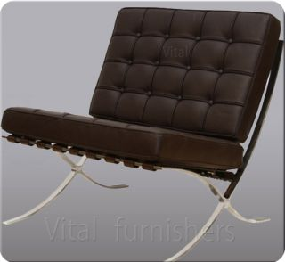 Vital Barcelona Style Brown Leather Chair Inspired by Mies