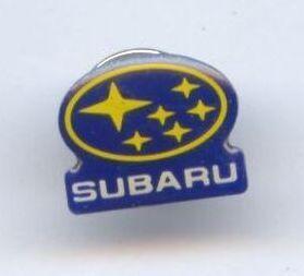 Subaru Logo Schriftzug Pin   blau/gelb