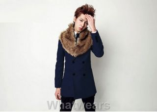 Herren Korea Winter zweireihig Fellkragen slim Jacke Wollmantel 5