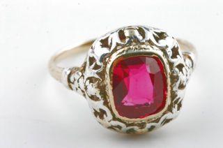 Gold Ring 750 mit rotem Stein antik Antikschmuck