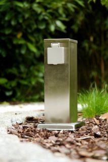 Außensteckdose aus Edelstahl mit 2 Schuko Stecker Gartensteckdose