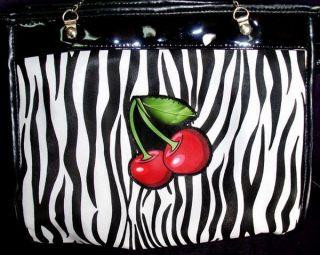 Gothic Tasche Zebra Cherries Kirschen Rockabilly EMO