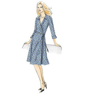 VOGUE V8379 MISSES DIANE VON FURSTENBERG STYLE WRAP DRESS SEWING