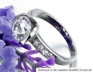 Solitär Ring  Weißgold Gold pl. Damen Ring Verlobungsring Ehering 9