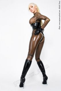 Latex Gummi Rubber Damen Catsuit Gummianzug 3 W Zip Smoky geklebt Gr.S
