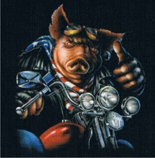 TOUGH BIKER Motorcycle Ride Cool Dude Pig Bike Rally USA Humorous