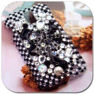 Black Bow BLING Hard Skin Case Cover For T mobile Samsung Galaxy S 2
