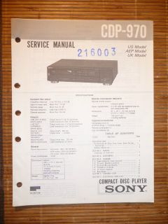 Service Manual für Sony CDP 970 CD Player, ORIGINAL