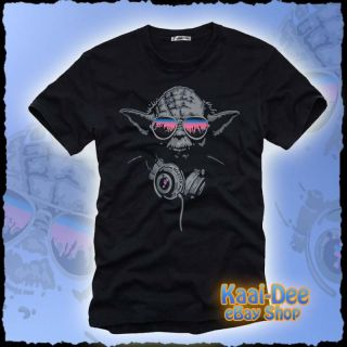cool DJ YODA @ turntables PARTY Club T SHIRT Star Wars trance rave S