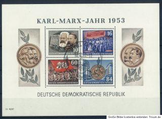 DDR 1953   BLOCK KARL MARX JAHR MI NR 9A GEZÄHNT   GESTEMPELT   SIEHE