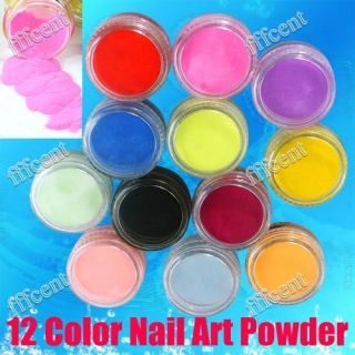 12x Colours Acrylic Powder Dust 3D Salon Nail Art Design Decorations