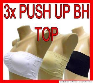 Push Up BH Bustier TOP Bandeau Gel BRA Microfaser TRÄGERLOS S M L
