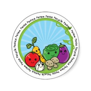 Reduce Reuse Recycle Veggies Round Sticker