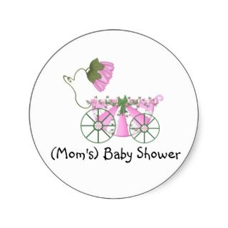 Baby Shower Sticker Cute Pink Bathtub