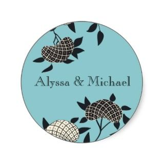 Art Deco Elegant French Blue Flower Sticker sticker