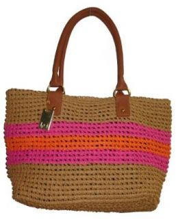Tommy Hilfiger Stripe Straw Tote Handbag (Tan/Pink/Orange