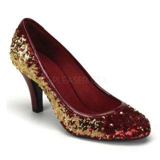shoes display on website 3 1 4 inch heel sequins pump red gold sequins