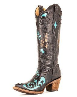 Womens Ladies Turquoise Vintage Goat Overlay Boot   C2117 Shoes