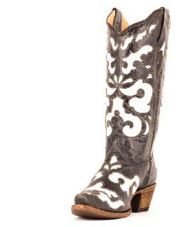 Corral Womens Antiqued Black/White Inlay Boot   A1965 Shoes