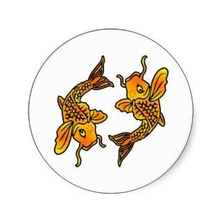 White Pisces Koi Tattoo Round Stickers