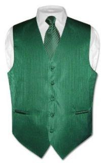 Mens Dress Vest & NeckTie Emerald Green Striped Vertical