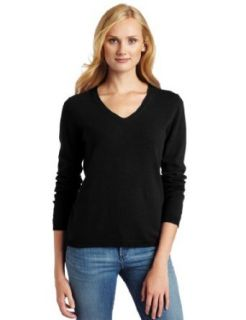Sofie Womens V Neck 100% Cashmere Sweater, Black, Small