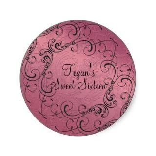 Pink Swirl Design Sweet 16 Envelope Sticker sticker