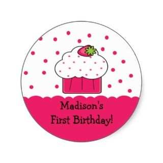 Pink Cupcake Happy Birthday Sticker